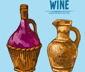 Wine hand drawn vector material 10