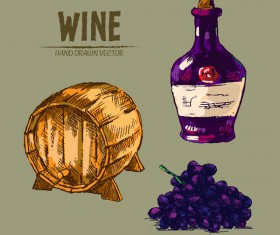 Wine hand drawn vector material 12