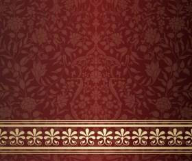 Wine red decor pattern vector design 01