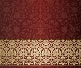 Wine red decor pattern vector design 02