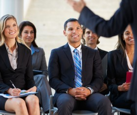Woman attending business market meeting Stock Photo 02