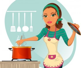Woman chef cooking food vector