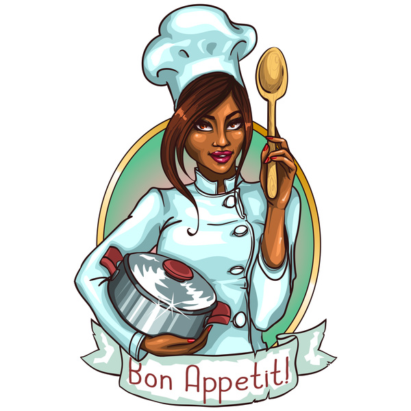 Woman chef label vector