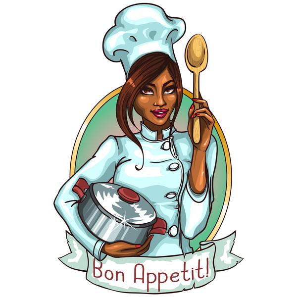 Woman chef label vector