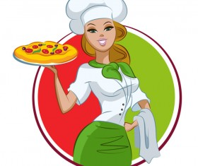 Woman chef with pizza and round frame vector