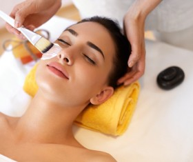 Woman doing skin care Stock Photo 01