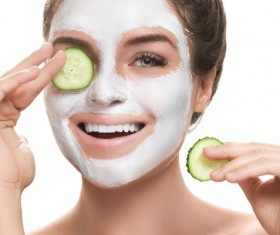 Woman doing skin care Stock Photo 04