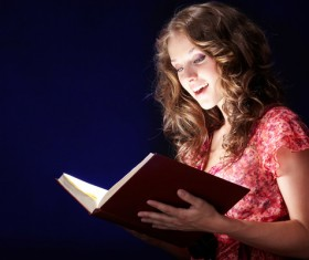 Woman reading a book Stock Photo 01