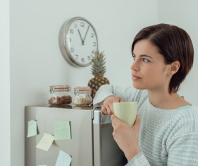 Woman resting at noon for coffee Stock Photo