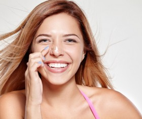 Woman rubs moisturizers and creams Stock Photo 04