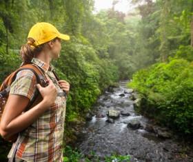Woman tourist make a sightseeing tour Stock Photo
