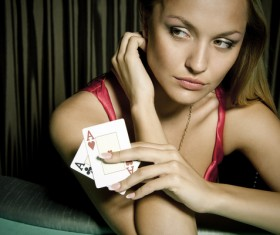 Woman with playing cards Stock Photo 01