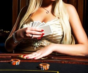 Woman with playing cards Stock Photo 02