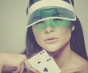 Woman with playing cards Stock Photo 03