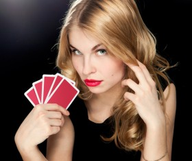 Woman with playing cards Stock Photo 04