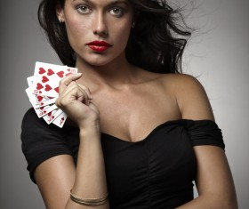 Woman with playing cards Stock Photo 05