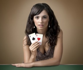 Woman with playing cards Stock Photo 07