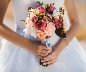 Womans bouquet in hands Stock Photo 01