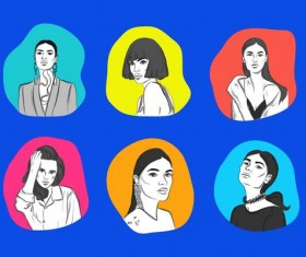 Womens faces vector material