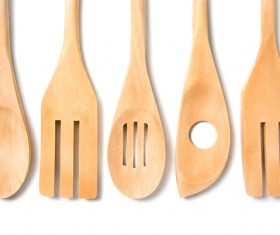 Wooden knife and fork Stock Photo