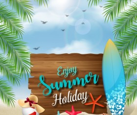 Wooden sign with summer beach background vectors 01