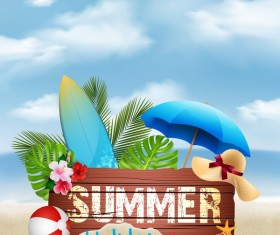 Wooden sign with summer beach background vectors 02