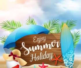 Wooden sign with summer beach background vectors 03