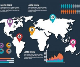 World map with infographic vectors material 01
