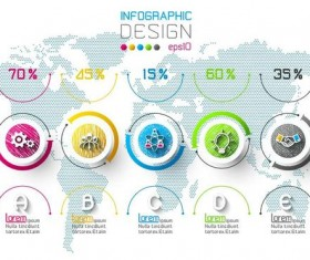 World map with infographic vectors material 02