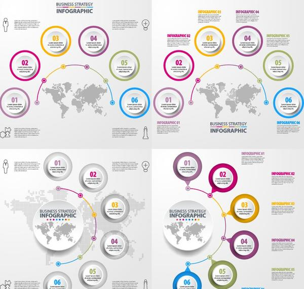 World map with infographic vectors material 03