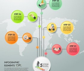 World map with infographic vectors material 04