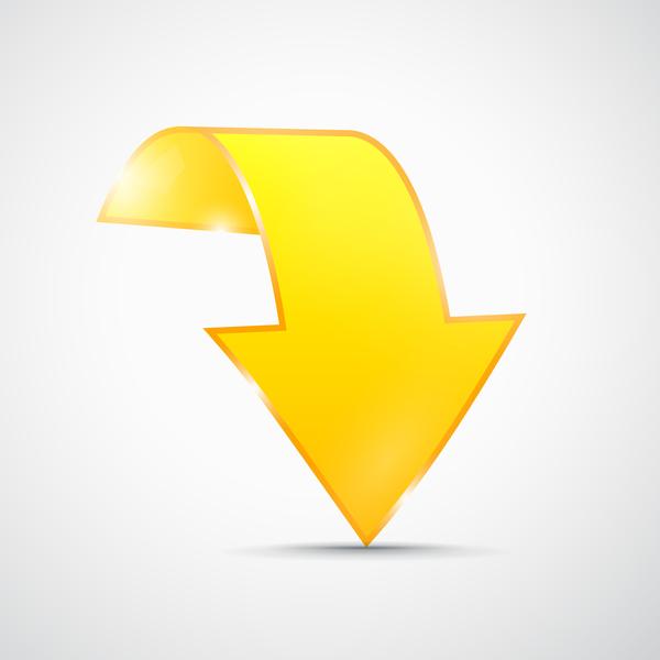 Yellow 3D arrow vector