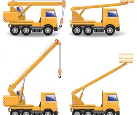 Yellow construction machinery vehicle illustration vector