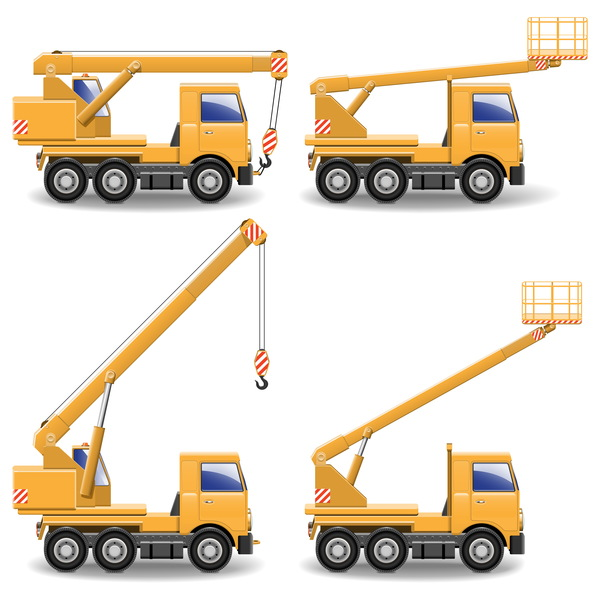 Yellow construction machinery vehicle illustration vector