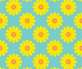 Yellow flower seamless pattern vectors