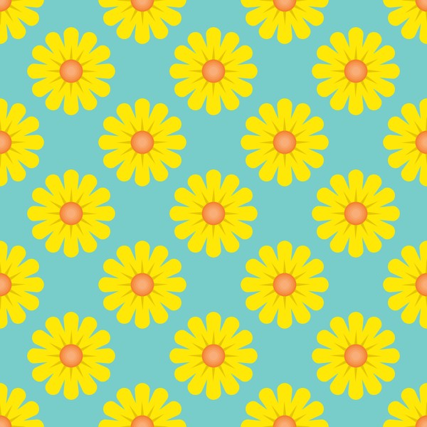 Yellow flower seamless pattern vectors