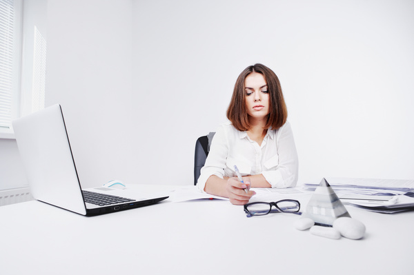 Young beautiful office female staff Stock Photo 02