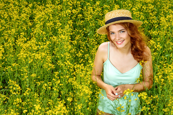 Young girl posing in flowers Stock Photo 02
