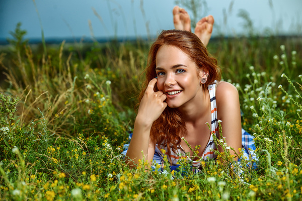 Young girl posing in flowers Stock Photo 03