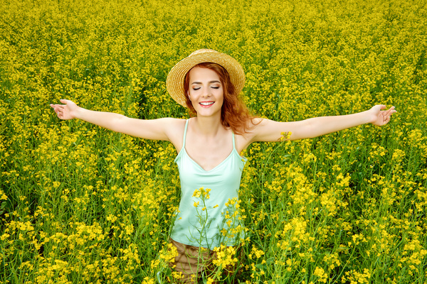 Young girl posing in flowers Stock Photo 04