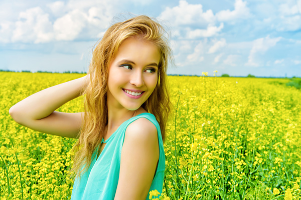Young girl posing in flowers Stock Photo 05