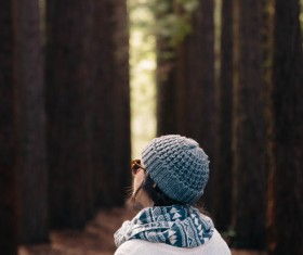 Young girl with warm clothes style Stock Photo