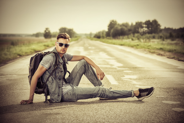 Young man posing on the road Stock Photo 02