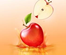 apple splash yellow background vector