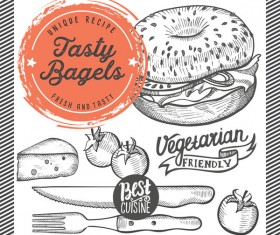 bagel menu template design vector 01