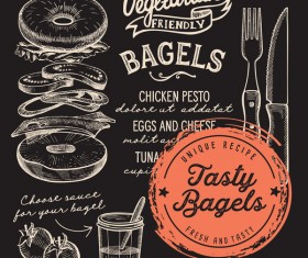 bagel menu template design vector 02