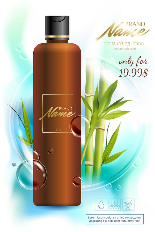 bamboo cosmetic advertising poster vector free download