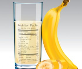 banana juice nutrition vector