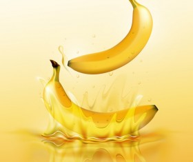 banana juice splash yellow background vector