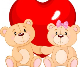 bears with red heart love vector